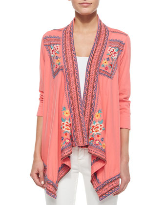 3/4-Sleeve Embroidered Trapeze Jacket