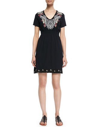 Rosalie Short-Sleeve Embroidered Dress