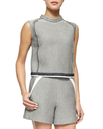 Barbara Check-Pattern Sleeveless Top