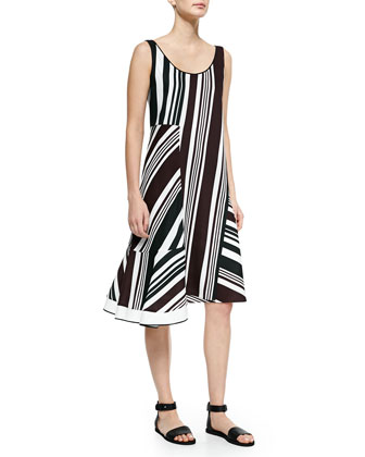 Multi-Striped Dress W/ Asymmetric Hem