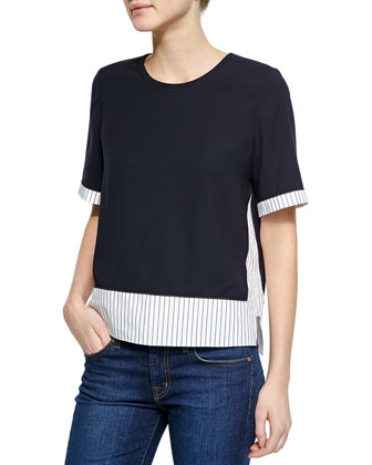 Moore Crewneck Top W/ Striped Trim