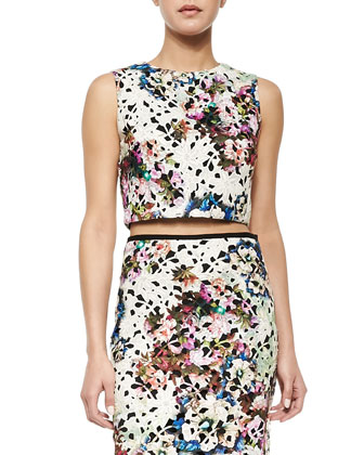 Floral Lace Crop Top & Floral Lace Pencil Skirt