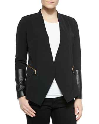 Blazer W/ Leather Inset Sleeves