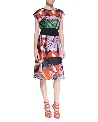 Secret Garden Cap-Sleeve Printed Dress