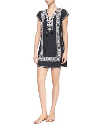 Indra Embroidered Short-Sleeve Dress