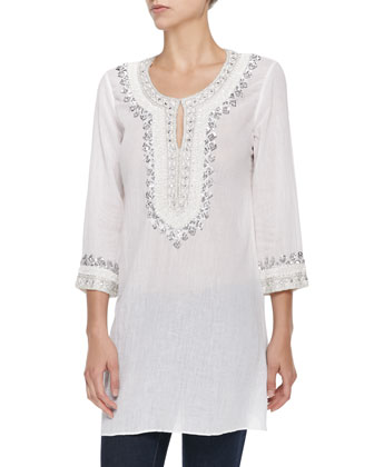 Tavia Beaded Voile Tunic Coverup