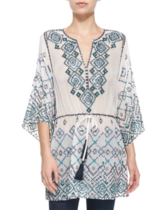 Velsia 3/4-Sleeve Sequined Embroidered Tunic