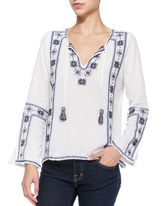 Covell Long-Sleeve Embroidered Top