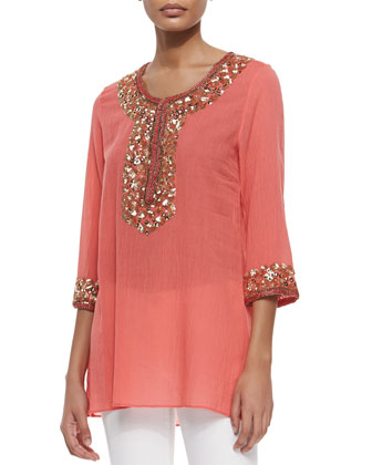 Sage Beaded and Embroidered Tunic