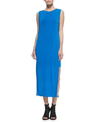 Faint Jersey Side-Slit Maxi Dress