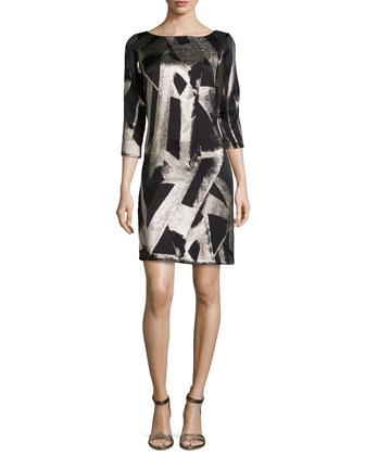 Bateau-Neck Abstract Printed Cocktail Dress