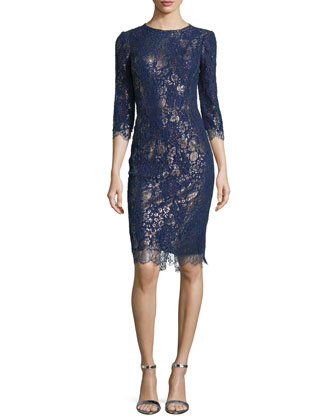 Metallic Cocktail Dress with Lace Overlay