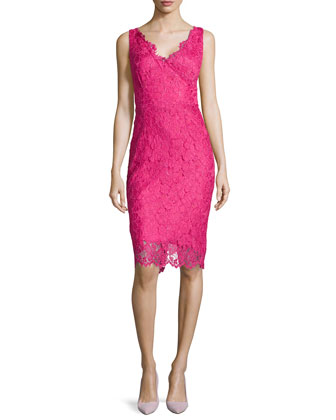 Sleeveless Lace-over-Satin Cocktail Dress