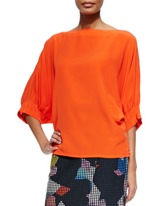 Garland Pleated-Sleeve Silk Top