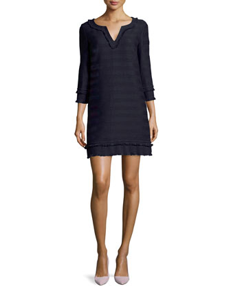 Lorossa Tonal Striped Tweed Dress