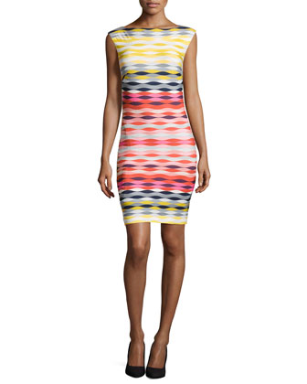 Felana Printed Slim Sheath Dress