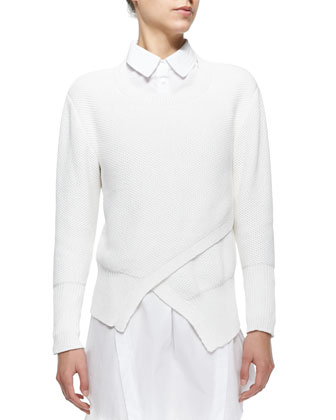 Eva Crewneck Asymmetric-Front Sweater