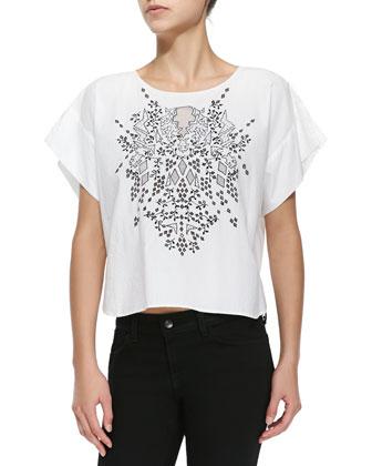 Ava Short-Sleeve Embroidered Tee