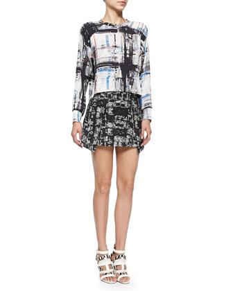 Jolene Printed Long-Sleeve Top & Ophelie Tweed Mini Skirt