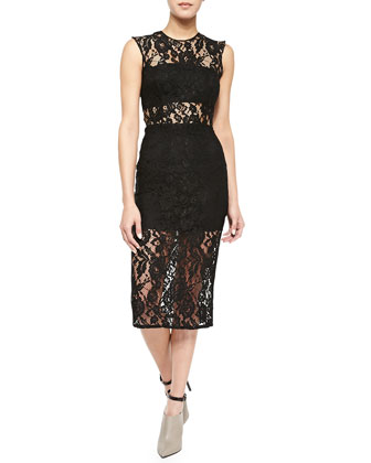 Leni Sleeveless Floral-Lace Sheath Dress, Black
