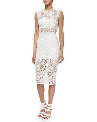 Leni Sleeveless Floral-Lace Sheath Dress, Ivory