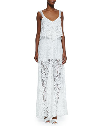 Blake Floral-Lace Sleeveless Gown