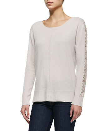 Lace-Sleeve Cashmere Top
