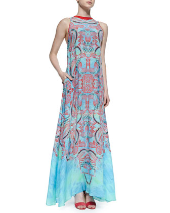 Regi Aztec-Print Georgette Maxi Dress