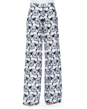 Jett Floral-Print Wide-Leg Pants