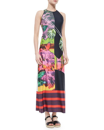 Painted Garden-Print Maxi Dress