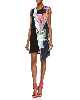 Painted Garden Draped Asymmetric Dress