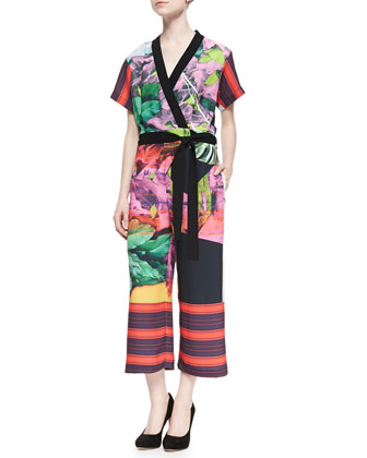 Painted Garden Wrap-Front Jumpsuit