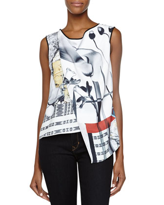 Mixed-Print Draped Asymmetric Top