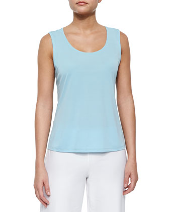 Stretch Silk Jersey Tank, Capri, Women's