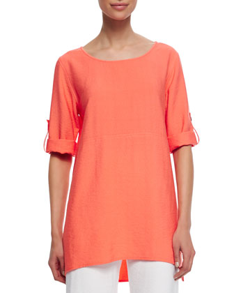 Cabo Crinkled Long Tabbed-Sleeve Tunic, Tropicana, Women's