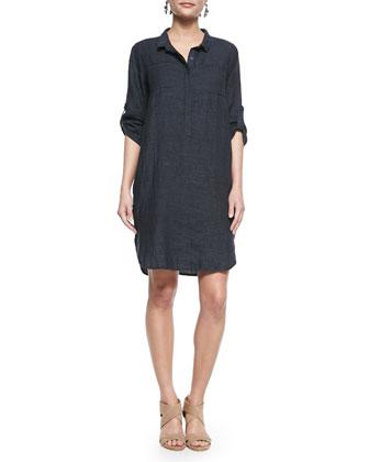 3/4-Sleeve Organic Linen Henley Dress, Denim, Petite