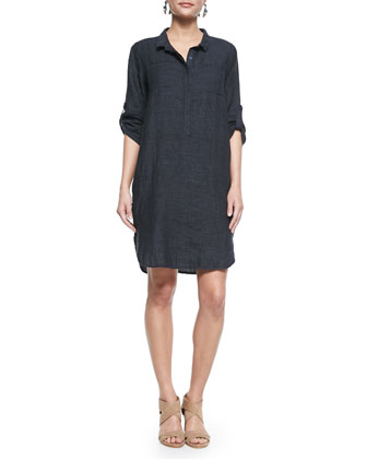 3/4-Sleeve Organic Linen Henley Dress, Denim, Women's