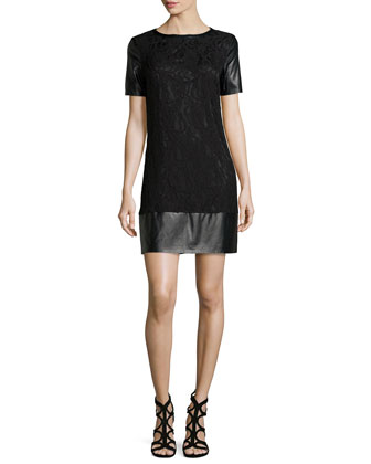 Short-Sleeve Lace & Leatherette Shift Dress