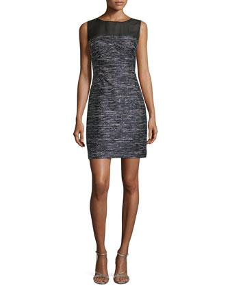 Sleeveless Boucle Dress w/ Chiffon Yoke