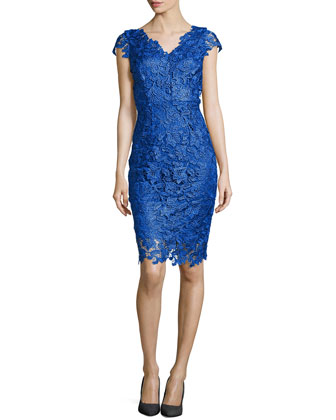 Sleeveless Venise Lace Dress, Island