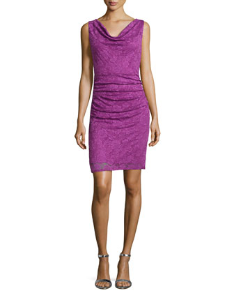 Sleeveless Lace Ruched Sheath Dress