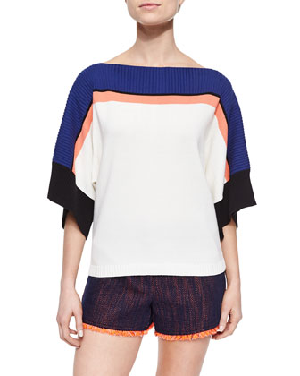 Short-Sleeve Oversized Colorblock Top