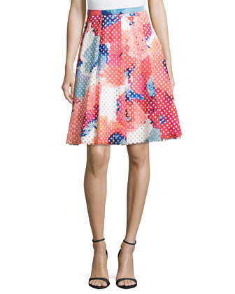 Floral-Print Perforated Party Skirt