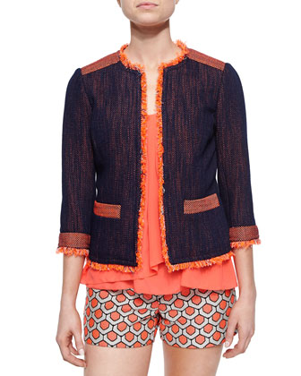 3/4-Sleeve Tweed Jacket, Sleeveless Drape-Front Top & Dot Jacquard Short Shorts