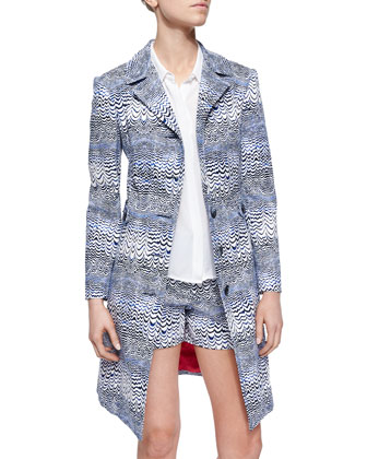 Long Wave-Print Jacket, Sleeveless Button-Front Top & Wave-Print Shorts