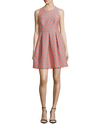 Sleeveless Petal Jacquard Shift Dress