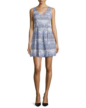 Sleeveless Wave-Print Dress