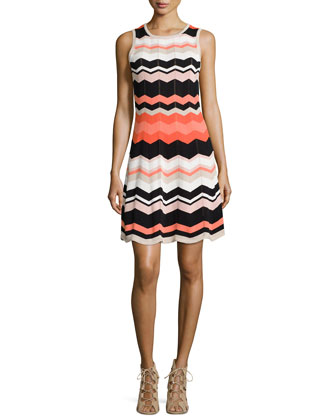 Sleeveless Chevron Knit Dress