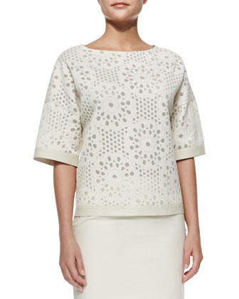Half-Sleeve Cropped Top, Raffia