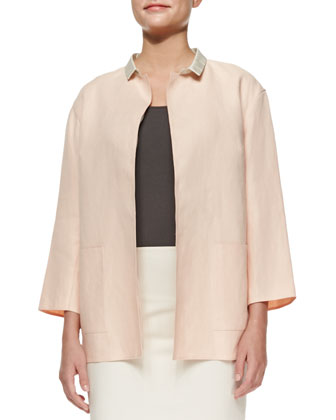 Marice Linen Topper Jacket W/ Silk Collar
